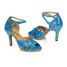 Blue women's Latin dance shoes Square dance shoes High heels 8.5cm Salsa shoes