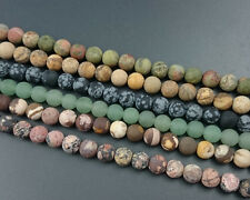 Natural Gemstone Matte Round Loose Gemstone Beads For Jewelry Making 8mm Strand