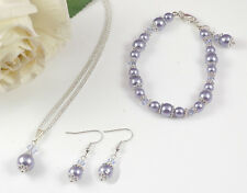 Bridesmaids/Flower Girls Lavender Purple Jewellery Set - Gift - Using Swarovski