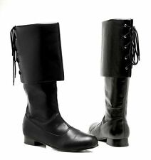 "ELLIE 121-SPARROW CAPTAIN HOOK PIRATE COSTUME BIKER KNEE 1"" HEEL BOOTS SHOES"