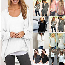 HOT Women Oversize Casual Pullover Loose Baggy Top Jumper Blouse T-shirt UK 8-24