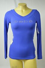 Bebe t shirt logo stretch crystals ribbed V NECK 205279 DZB blue long sleeve