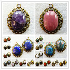 1 Pcs Or 2 Pcs Bronze Inlay 25x18mm Oval Mixed Gemstone Pendant Bead XJ-660