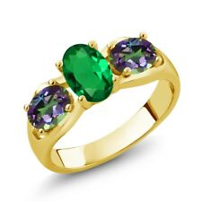 1.60 Ct Simulated Emerald Green Mystic Topaz 18K Yellow Gold Plated Silver Ring