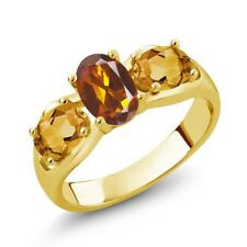 1.50 Ct Orange Red Madeira Citrine citrine 18K Yellow Gold Plated Silver Ring