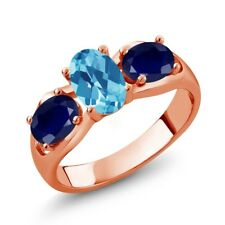 2.05 Ct Oval Swiss Blue Topaz Blue Sapphire 18K Rose Gold Plated Silver Ring