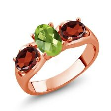 1.85 Ct Oval Green Peridot Red Garnet 18K Rose Gold Plated Silver Ring