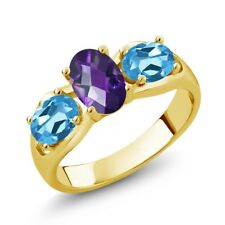 1.75 Ct Oval Amethyst Swiss Blue Topaz 18K Yellow Gold Plated Silver Ring