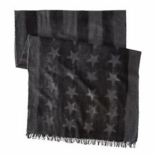John Varvatos Star USA Men's Scarf Star Flag Ebony Merino Wool $85 msrp NWT