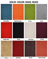 Solid Color Shag Area Rug Red Orange Grey Brown Green Beige Blue Shags Shaggy
