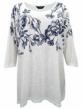 YOURS LADIES FLORAL BORDER PRINT TOP IVORY NEW (ref 394) SALE