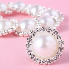 New 10 Pcs Charming Rhinestone Pearl Silver Tone Shank Round Button Sewing Craft