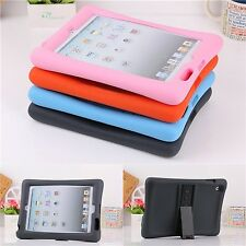 Soft Silicone Rubber Shockproof Stand Cover Case For iPad Mini/2 3 4/Air/Air 2