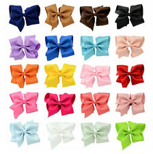 "Colorful 5.5"" Big Hair Bows Boutique Girls Alligator Clip Grosgrain Ribbon LOT"