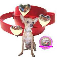 Chihuahua Dog Collar art leather MADE IN GERMANY Red Silver Heart XXS-M H2