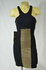 BEBE dress Leather sequin panel 199767 black stretch xxs xs s