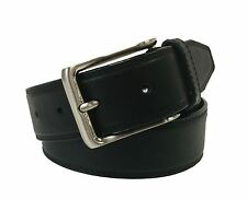 Nautica Mens Solid Black Leather Belt Brushed Metal Buckle 34