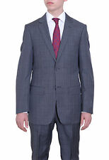 Mens Classic Fit Gray Windowpane Two Button Super 140's Wool Suit