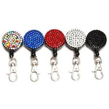 Rhinestone Bling Crystal Lanyard ID Badge Tag Key Retractable Reel Holder Clip