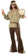 Adult 60s 70s Hippy Mod Hippie Marvin Mens Fancy Dress Stag Party Costume Outfit