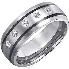 8mm Tungsten Carbide Ring With Black Plating Size 8-14