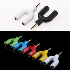U Shape 3.5mm Audio Earphone Headset Line Splitter Adapter for Mobile Computer
