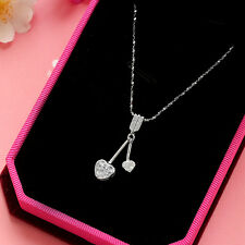 Accent Arrow heart Lariat Cubic Zirconia authentic 925 sterling silver necklace