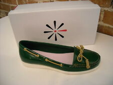 Isaac Mizrahi Decker Green Patent Boat Deck Shoes Flats New