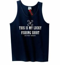 Lucky Fishing Shirt Funny Mens Tank Top Fish Dad Fathers Day Gift Sleeveless Z3