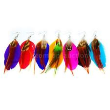 Women New Fashion Long Colorful Feather Chandelier Dangle Earrings Jewelry T5V8