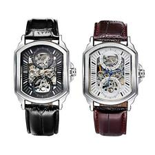 WINNER Mens Leather Self-winding Skeleton Dial Automatic Mechanical Watch B6A2