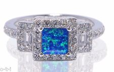 Blue Fire Opal Princess Simulated Diamond Sterling Silver Engagement Ring