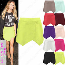NEW LADIES WRAP OVER MINI SKIRT WOMENS ASYMMETRIC DRAPE HEM LOOK SHORT SKIRTS