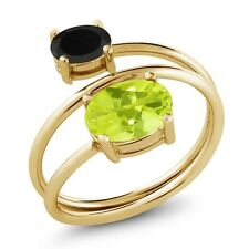 1.88 Ct Oval Yellow Lemon Quartz Black Onyx 18K Yellow Gold Plated Silver Ring