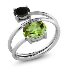 2.11 Ct Oval Green Peridot Black Onyx 925 Sterling Silver Open Ring
