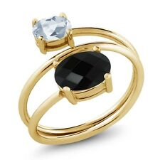 2.12 Ct Oval Checkerboard Onyx Sky Blue Topaz 18K Yellow Gold Plated Silver Ring