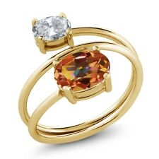 2.30 Ct Oval Ecstasy Mystic Topaz White Topaz 18K Yellow Gold Plated Silver Ring