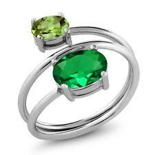 2.00 Ct Oval Green Simulated Emerald Green Peridot 925 Sterling Silver Open Ring
