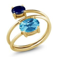 2.40 Ct Oval Swiss Blue Topaz Sapphire 18K Yellow Gold Plated Silver Open Ring