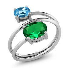 2.00 Ct Oval Green Simulated Emerald Swiss Blue Topaz 925 Sterling Silver Ring