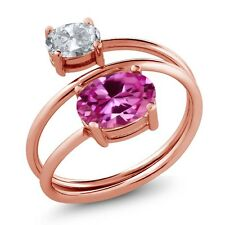 2.65 Ct Oval Pink Created Sapphire White Topaz 18K Rose Gold Plated Silver Ring