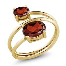2.20 Ct Oval Red Garnet 18K Yellow Gold Plated Silver Open Ring