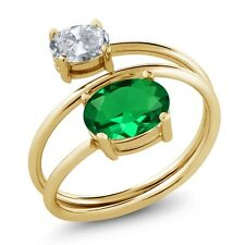 2.00 Ct Green Simulated Emerald White Topaz 18K Yellow Gold Plated Silver Ring