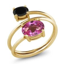 2.08 Ct Oval Pink Mystic Topaz Black Onyx 18K Yellow Gold Plated Silver Ring