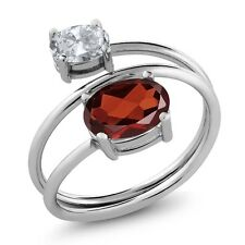 2.20 Ct Oval Natural Red Garnet White Topaz 925 Sterling Silver Ring