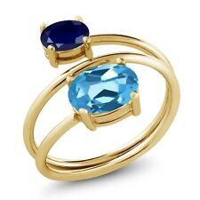 2.40 Ct Oval Swiss Blue Topaz Blue Sapphire 18K Yellow Gold Plated Silver Ring