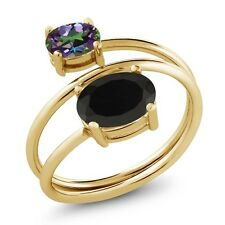2.25 Ct Oval Black Onyx Green Mystic Topaz 18K Yellow Gold Plated Silver Ring