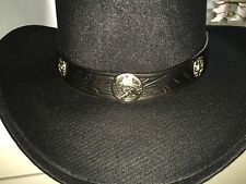 Black Leather Hatband Western Gambler Cowgirl Hat