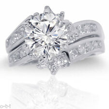 Brilliant Round Clear White Sapphire CZ Genuine Sterling Silver Ring Set 2.17 Ct