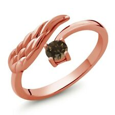 0.26 Ct Round Brown Smoky Quartz 18K Rose Gold Plated Silver Wing Ring